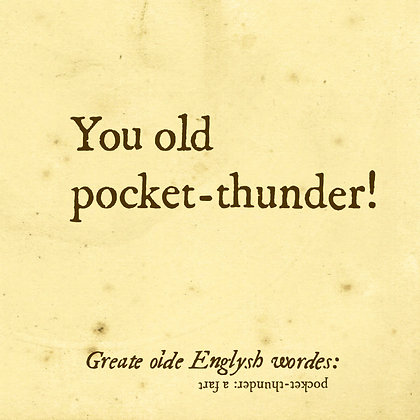 Old english word for fart. Pocket-thunder. Old english dictionary word. English slang word for fart.