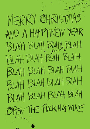 Funny calligraphy Christmas card. Pen and ink splashes and blobs on ivy green background.