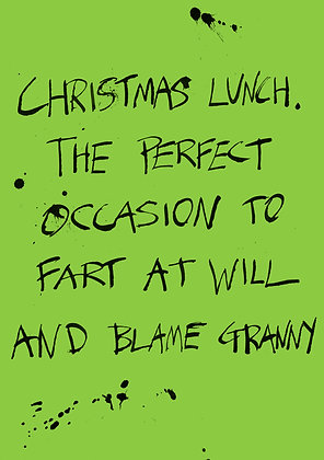 christmas lunch fart blame granny