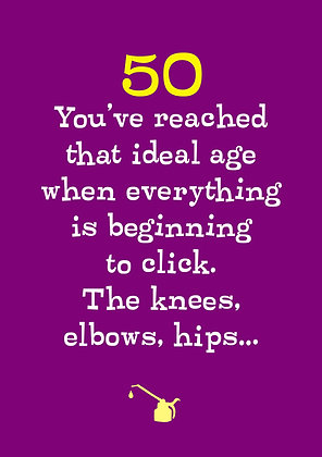 50th age milestone birthday card about knees that click