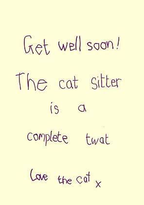 Funny get well soon card from the cat. Cat doesn't like its cat sitter. Handwriting font on yellow background
