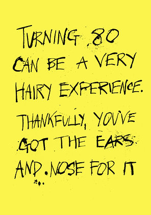 funny 80th birthday card about hair