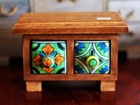 Mango Wood and Ceramic Chests
