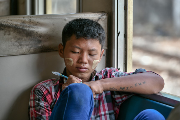 Boy on a train