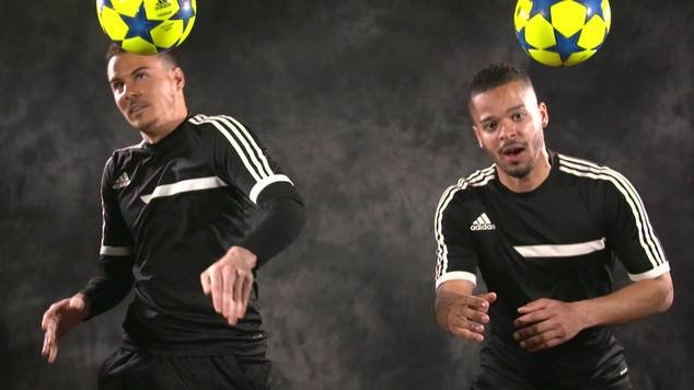 Slow mo freestyle footballers