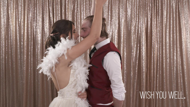 Slow mo bride and groom twirl
