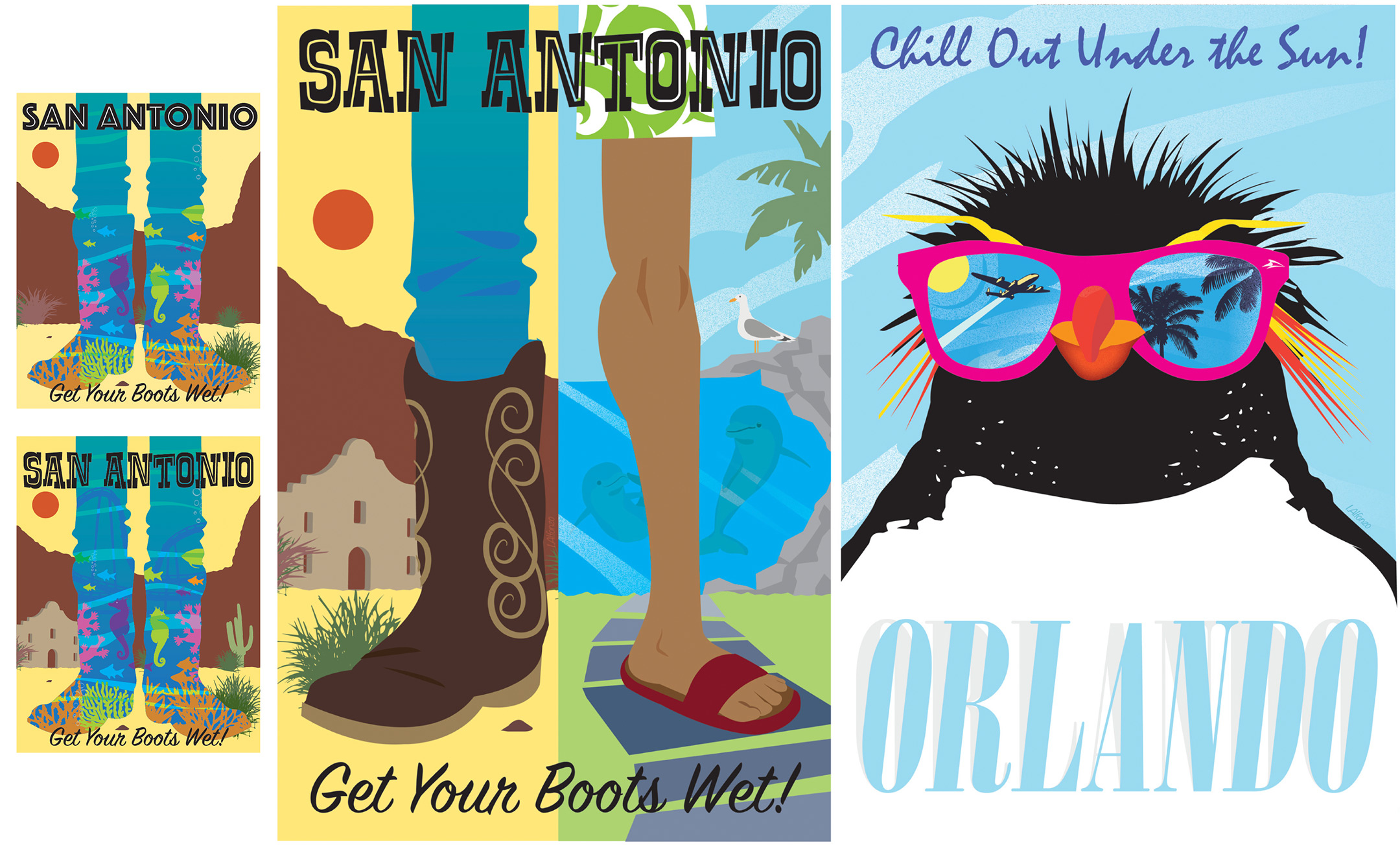 SeaWorld Travel Posters San Antonio & Orlando