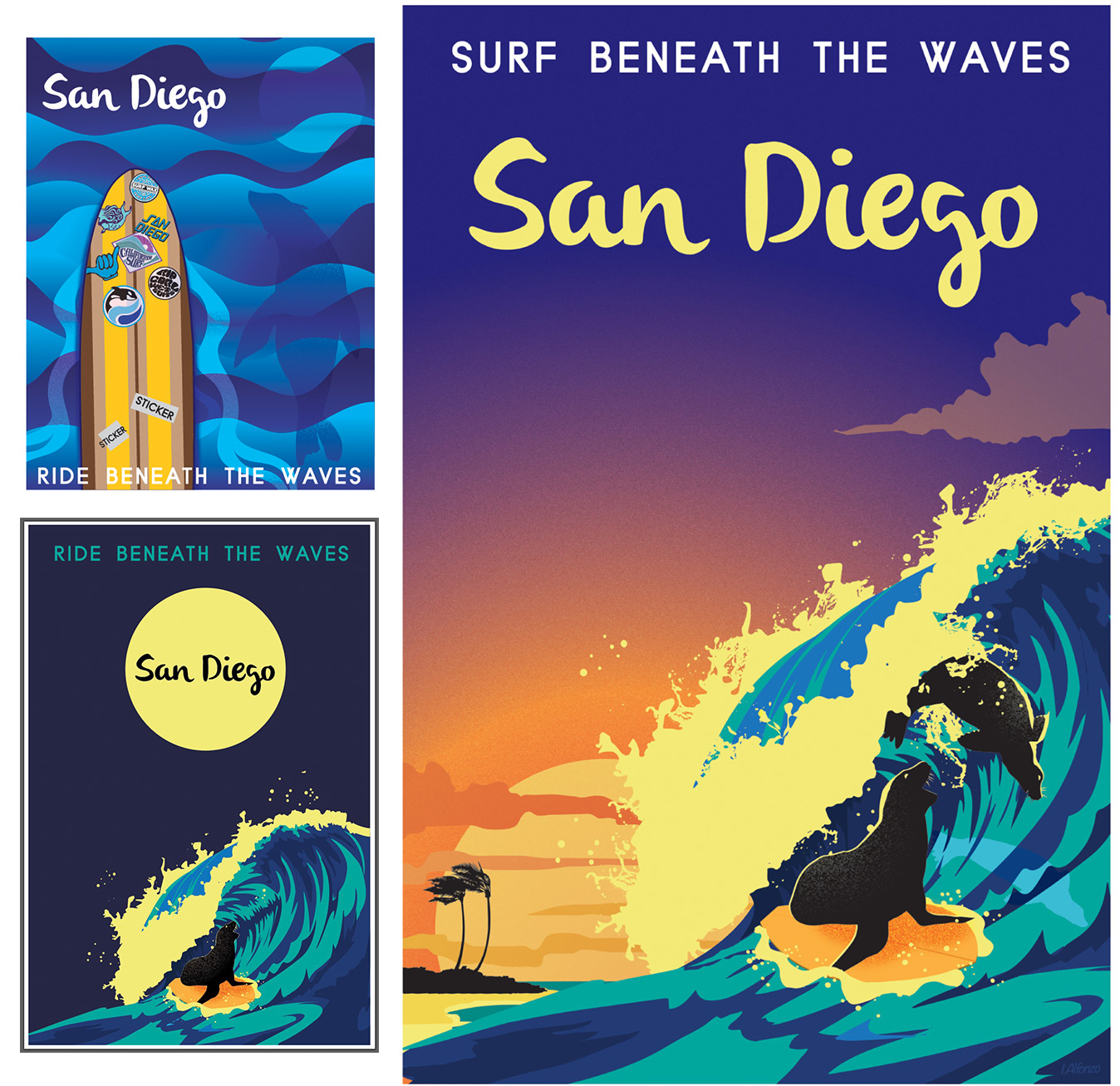 SeaWorld Travel Poster San Diego