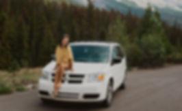 Solo Female Traveler in the Rocky Mountains living Van Life in a Minivan (Dodge Caravan)