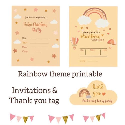 Boho-Rainbow-Invitation-Printable-Thank you-Tag-Download