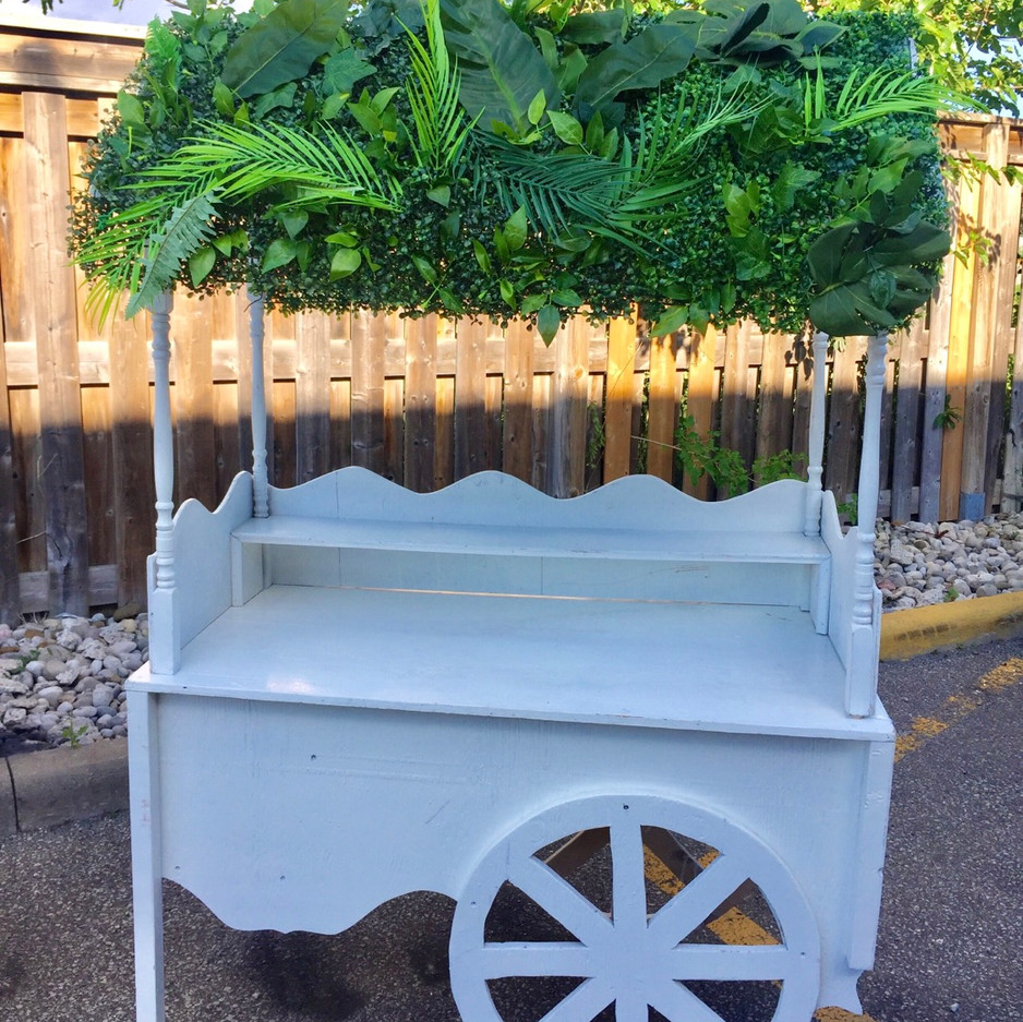 vintage-cart-greenery-candy-bar-wood-for-rental-decora-birthday-wedding
