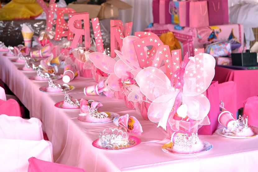 Kids Pink Butterfly Birthday Table Decor