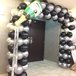 champagne balloon arch for entrance door