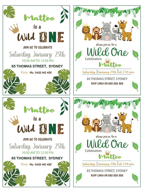 Wild ONE- Download Printable - Banner- 1st Birthday-Party-Supplies-EDITABLE