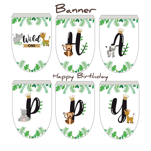 Wild ONE - printable Download - Birthday Party - Banner- Water Label - Boxes