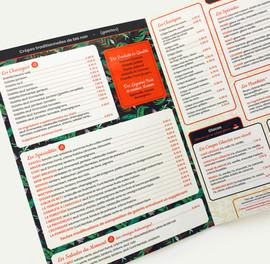 Carte menu, boissons, set de table...