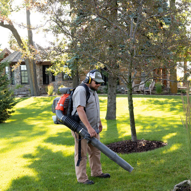 Blowing off hardscapes