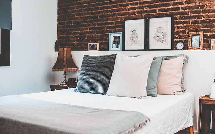 Rustic Bed with Pillows