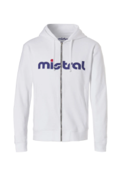 Mistral Mens Zippered Hooded White Sweat Shirt
