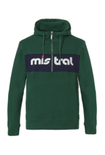 Mistral Mens Half Zippered Hooded Green Sweat Shirt
