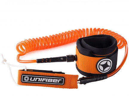 Unifiber Sup Coil Leash 8 ft Orange/Black