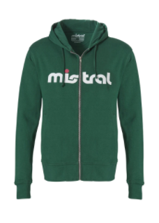 Mistral Mens Zippered Hooded Green Sweat Shirt