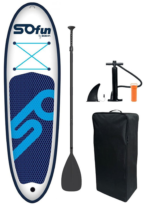 SUP Paddle Board iSUP Inflatable 10.0 Side On white blue complete set