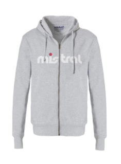 Mistral Mens Zippered Hooded Grey Sweat Shirt