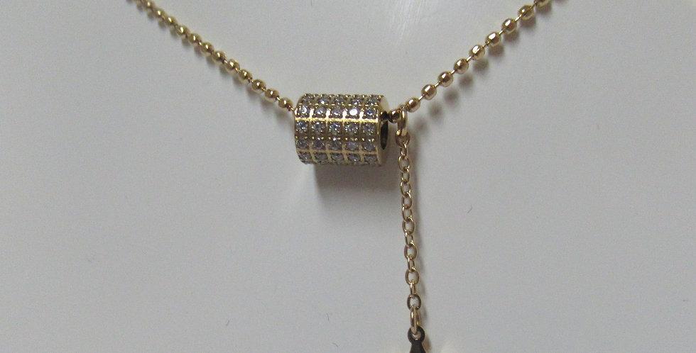 Collier Zag Cylindre strass Acier doré