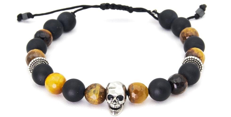 Bracelet Homme Tête de mort Onyx Lo et ma