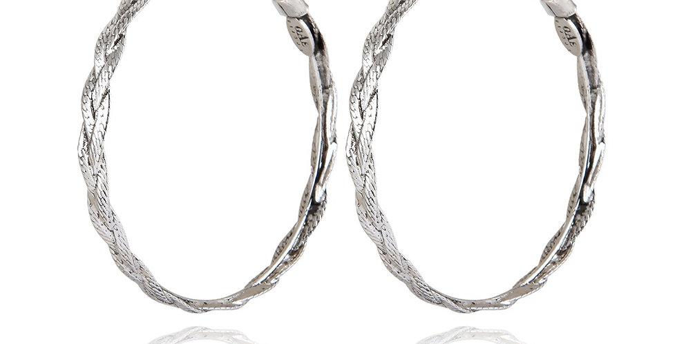 Boucles d'oreilles créoles Tresse moyen modèle argent