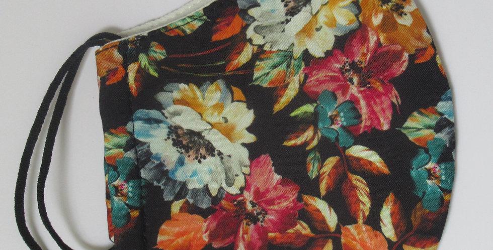 Masque en tissus grosses fleurs colorées