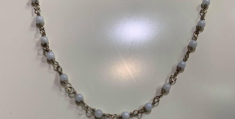 Collier Zag perles fines blanches Acier doré