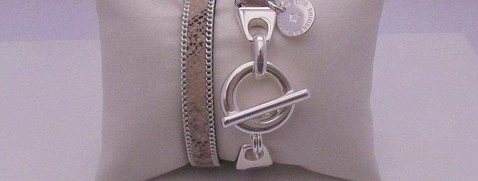 Bracelet argent cuir serpent beige
