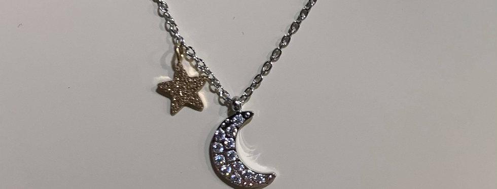 Collier Zag lune et étoile Zircon Acier