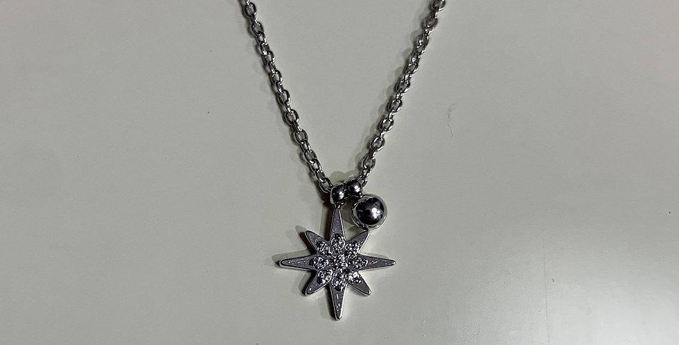 Collier Zag étoile strass acier