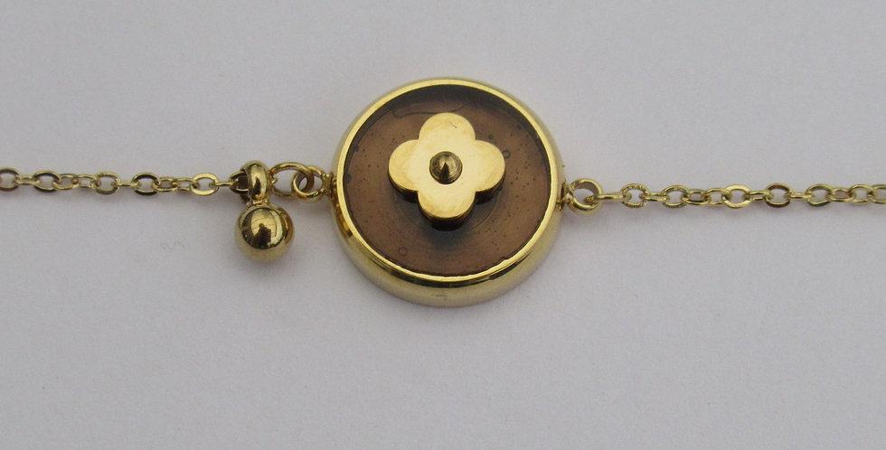 Bracelet Zag fleur Acier doré