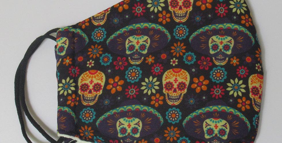 Masque en tissus petite tête de mort mexicaine