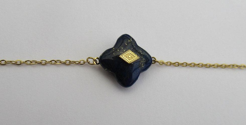 Bracelet Zag trèfle Lapis losange doré