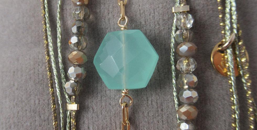 Bracelet Hexagone Calcédoine vert d'eau