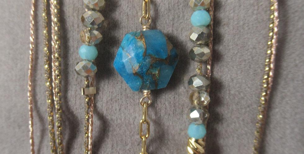 Bracelet Hexagone turquoise cuivré