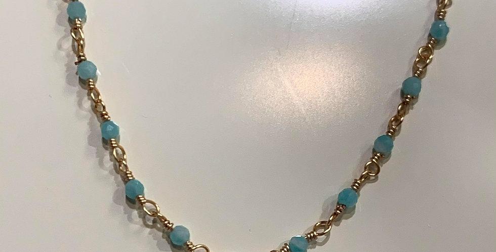 Collier Zag perles fines turquoise Acier doré