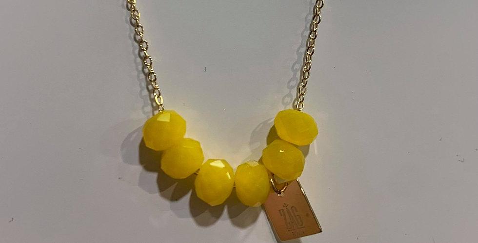 Collier Zag perles jaunes acier doré