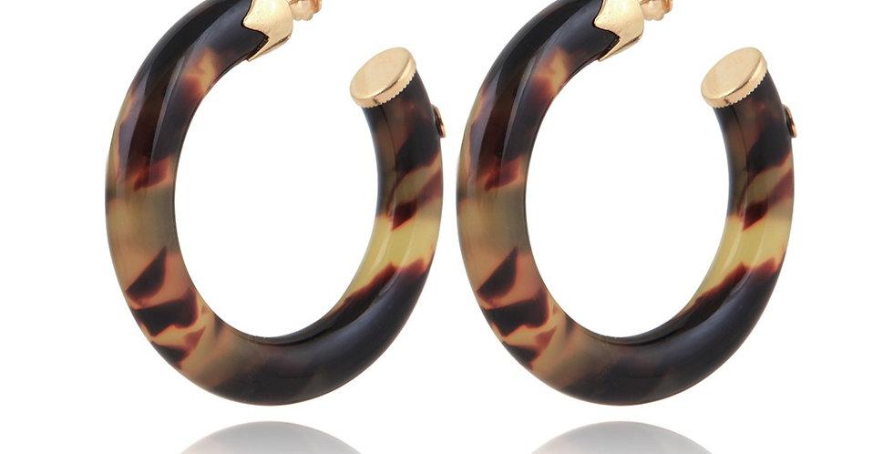 Boucles d'oreilles créoles Caftan petit modèle acétate or - Ecaille
