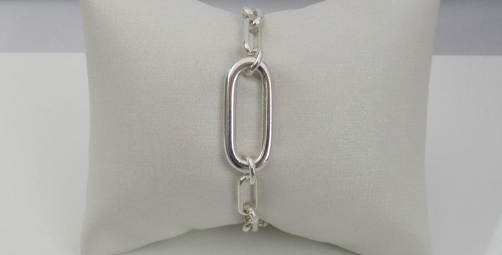 Bracelet chaîne rectangle argent