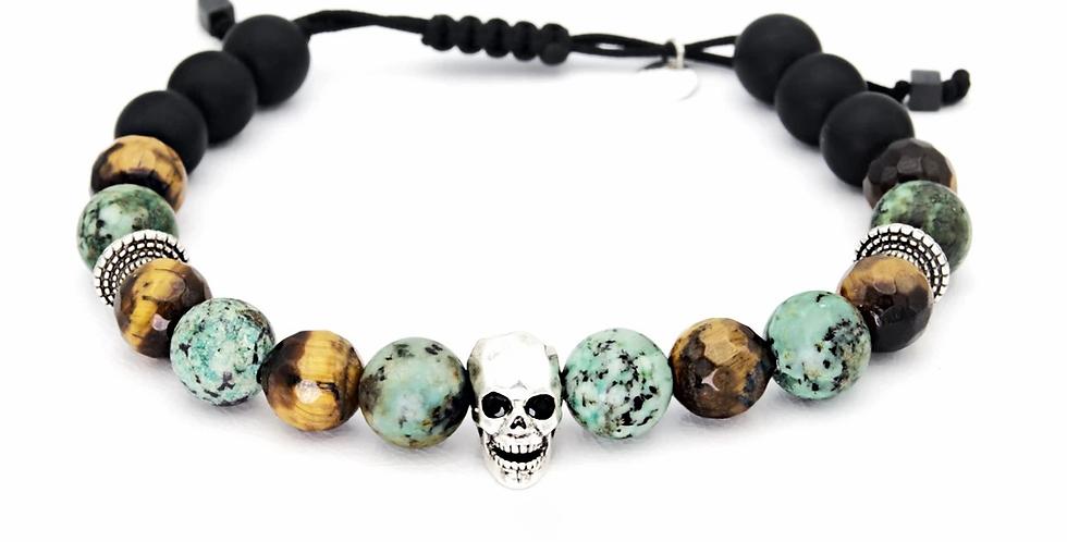 Bracelet Homme Tête de mort Turquoise Lo et ma