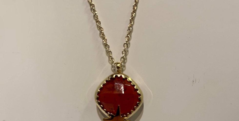 Collier Zag pierre et étoile rouge acier