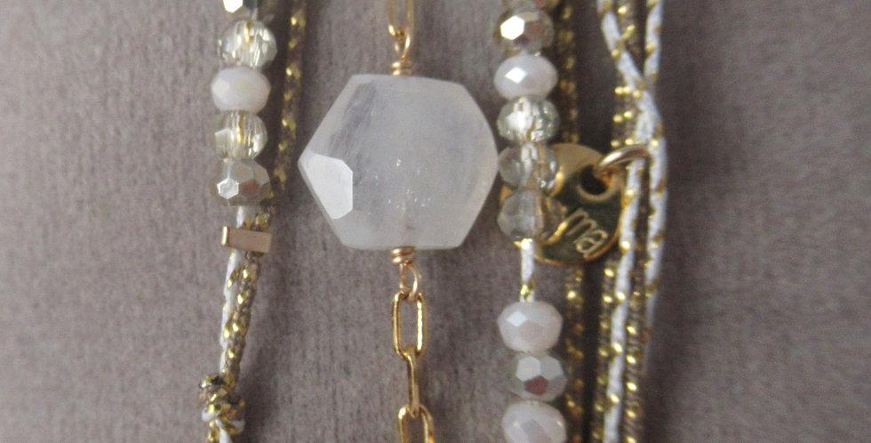 Bracelet Hexagone Pierre de lune