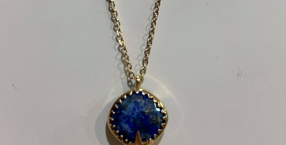 Collier Zag pierre et étoile bleu acier doré