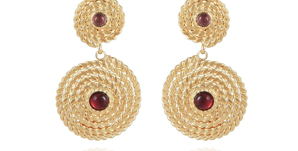 Boucles d'oreilles Onde Lucky cabochons mini or